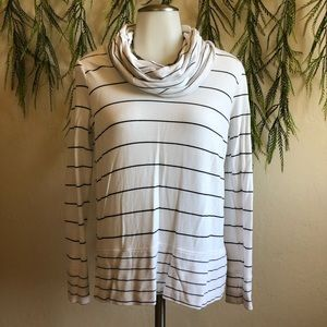 Cable and gauge cowl neck shirt